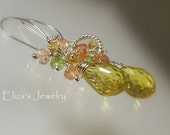 Lemon Quartz Earrings Sterling Silver Peridot Citrine Peach Quartz Wire Wrapped AAA Luxe