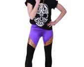 SUPERHERO LEGGINGS in Purple, Gold Holographic & Black Spandex