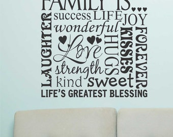 Family Is Wall Words, Vinyl Wall Lettering, Vinyl Wall Decals, Vinyl Decals, Vinyl Letters, Wall Quotes, Family and Home Quote