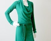 SALE, Day dress, Green dress with cowl neck, Long sleeve dress, Spring dress, Casual dress, Ready to ship, Womens clothing,  SALE 40% off