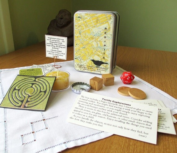 Meditation box with finger labyrinth and other mindfulness objects and text // personal shrine