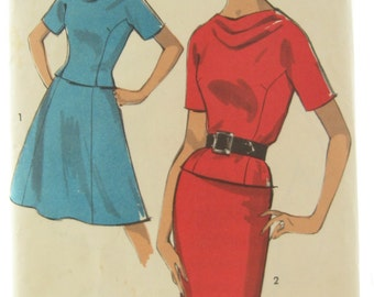 Advance 8530 1960s Princess Seam Dress Easy Sew Cowl Neck Dress Vintage Sewing Pattern Bust 34