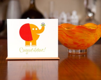 Pachyderm Pacifier - Elephant New Baby Card in Orange, Blue, or Pink on 100% Recycled Paper