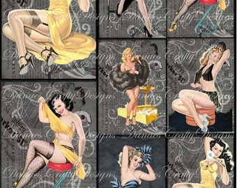 Vintage Pin Up Girl Collage Sheet - Yellow and Blues- CS202 - Digital Download - Bonus Sheet My Treat