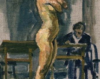 Model and Artist, Night Session. Small Oil on Canvas, Realist Figure Painting, 6x9 Female Nude, Signed Original Fine Art