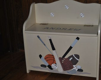 Toy Chest Bench Storage Box - Multi Sports Design