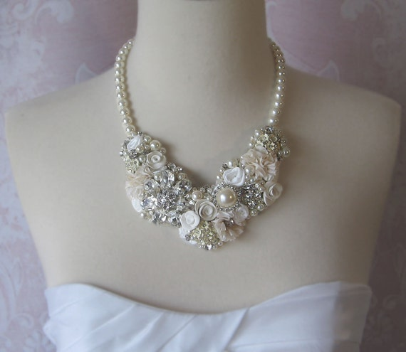 Bridal Statement Necklace, Pearl and Rhinestone Wedding Jewelry, Ivory, and Cream Collage Bib Neckalce - HYDE PARK
