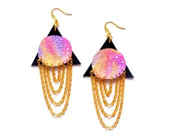 Triangle Galaxy Earrings, Leather Earrings, Ombre Pink Earrings, Planet Earrings, Geometric Earrings, Chain Earrings, Chain Dangle Earrings