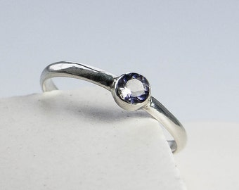 Faceted Iolite Ring.Gemstone Ring. Blue Gemstone Sterling Silver Ring. Silver Ring. Water Sapphire Ring. Gift Under 40