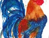 Watercolor ROOSTER Bird Art print - by CheyAnne Sexton kitchen art  watercolour Giclee Print 9x12 - blue orange red