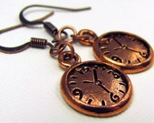 Copper Clock Earrings - Steampunk Earrings, Alice in Wonderland Earrings, White Rabbit, Time Travel, Steam Punk, Charm, Gift