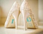 """BLUE """"I Do"""" Wedding Shoe Rhinestone Applique"""