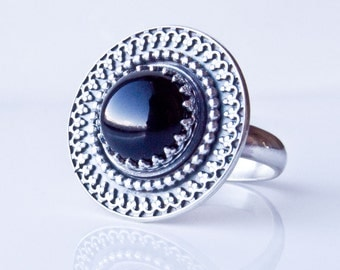 Sterling Silver and Black Onyx Ring. Black Onyx Shield Ring - custom made