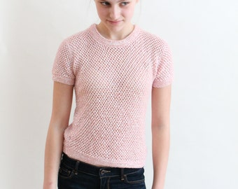 vintage 50s sweater - 1950s pink sweater - angora sequined sweater