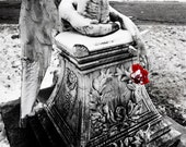 Photo, Weeping Angel, Cemetery Photograph, Wall Art, Print, Red, Black and White Photo, Condolence Gift, 8x12, Gothic Angel, Religious Art