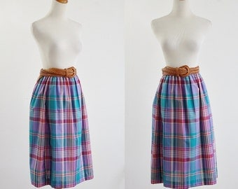 Vintage Madras Plaid Skirt -- 80s  Checked Skirt -- 1980s Teal Blue Red Purple Flared A Line Skirt -- Elastic Waist Skirt -- Medium Large