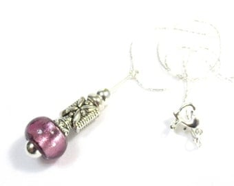 Pink Pendant Necklace, Mauve Pink, Foil Glass Bead, Heart Clasp, Engraved Silver Pillow Bead, Lampwork Bead Pendant, Silver Cable Chain