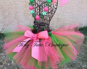SWEET WATERMELON- Coral and Green, tutu with hairbow:  Newborn-5T