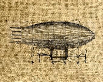 INSTANT DOWNLOAD - Airship Vintage Illustration - Download and Print - Image Transfer - Digital Sheet by Room29 - Sheet no. 872