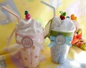 Baby Blanket Milk Shake ..1 Receiving Blanket and 1 Baby Washcloth...Unique Baby Gift..Baby Shower... Boy..Girl or Neutral..Adorable  :)