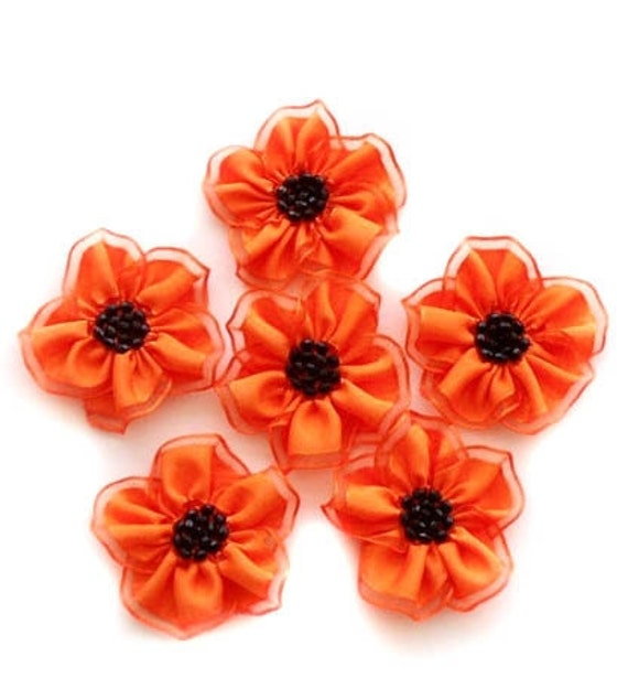 Handmade Neon Orange Medium Ribbon Flower Appliques Embellishments (6pcs)