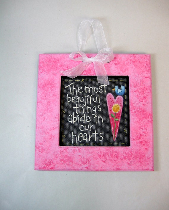 Beautiful Things Abide in our Heart, Tole Painted, Wedding Gift, Framed Art