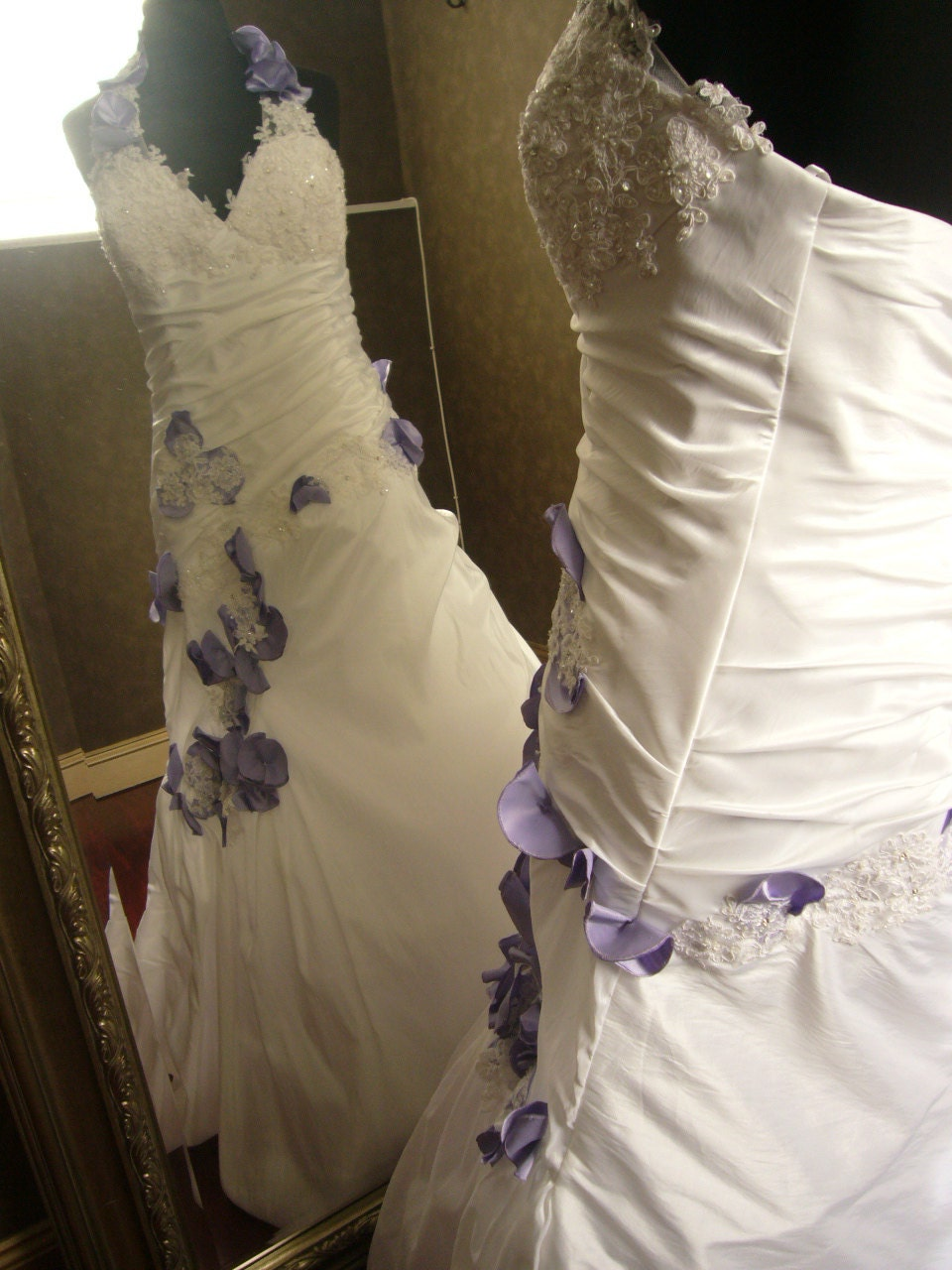 Wedding Dress In White And Lilac Halter Top By