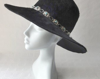 Vintage Black Hat Hippy Boho Felt Fur Floppy Wide Brim