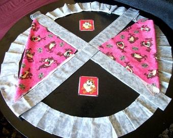 Fabric Tasmanian n cartoon character Looney tunes gift ideas for kids & shades of gray border ruffle trim fun craft supplies