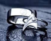 14K White Gold Wedding Band for Men Star Trek Insignia Inspired Hand-Engraved Customizable Made To Order