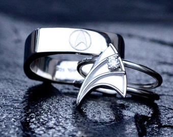 14K White Gold Wedding Band for Men Star Trek Insignia Inspired Hand-Engraved Customizable Made To Order