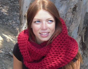 Red chunky cowl infinity scarf scoodie