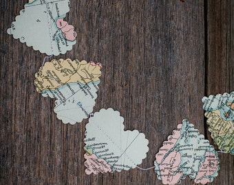 Wedding Decorations, romantic hearts garland, world map or travel theme, pastel colours