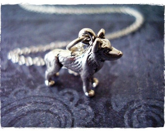 Silver Husky Necklace - Sterling Silver Husky Charm on a Delicate Sterling Silver Cable Chain or Charm Only
