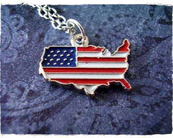 Silver Usa Flag Map Necklace Enameled Antique Pewter Usa Flag Map Charm On A Delicate