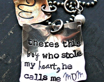 Mothers Personalized Necklace - Theres this boy who stole my heart - Hand Stamped Mothers Necklace