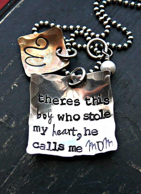 """""""There's this boy who stole my heart, he calls me mom"""" necklace"""