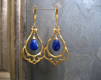 Lapis chandelier, statement earrings, ornate earrings, arabian nights, blue lapis briolette, gold dangle, midnight blue