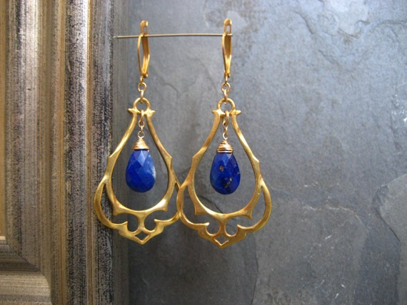 Lapis chandelier, ornate earrings, arabian nights, blue briolette, gold dangle, midnight