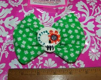 Green Clover - Big Hair Bow – Hand Painted Sugar Skull - Clip - OOAK