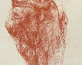 """Expressive Red Hand Drawing - conte on paper - 10 x 13.5"""" original drawing"""