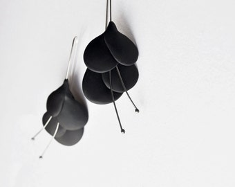 contemporary polymer clay earrings, '' black retro leaves'' made to order
