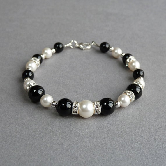 Black Onyx And White Pearl Bracelet Jet Black Bridesmaid