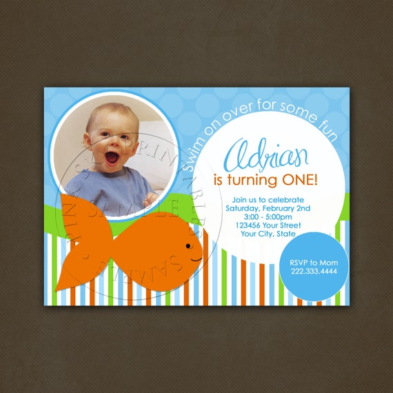 Fish birthday party invitation printable file orange blue for Fishing birthday party invitations