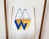 Yellow Cobalt Penrose Triangle Earrings - Impossible Object Leather Illusion Jewelry