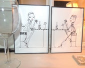 Black and white with a touch of red framed 5x7 print of girlfriends sharing wine