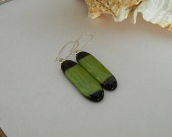 Long Dangle Earrings Fused Glass Lime Green and Glitter Black