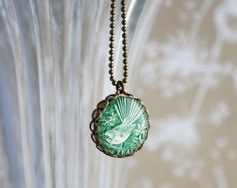Double Sided New Zealand Stamp Necklace Fantail Kiwi
