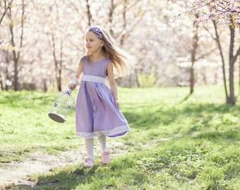 Lavender flower girl dress - lilac baby dress - rustic flower girl dress - country flower girl dress - linen flower girl dress