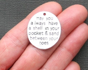 BULK 10 Beach Charms Antique  Silver Tone Large Size Sand in Your Toes - SC2252